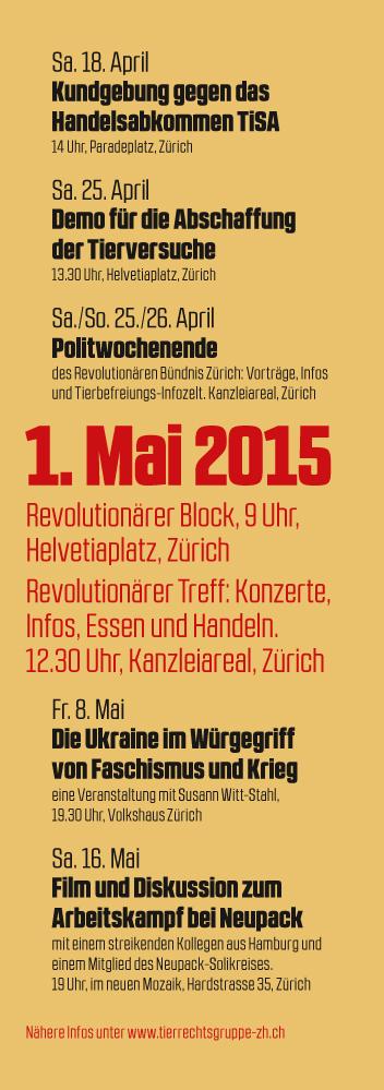1. Mai 2015 Zürich Tierbefreiung