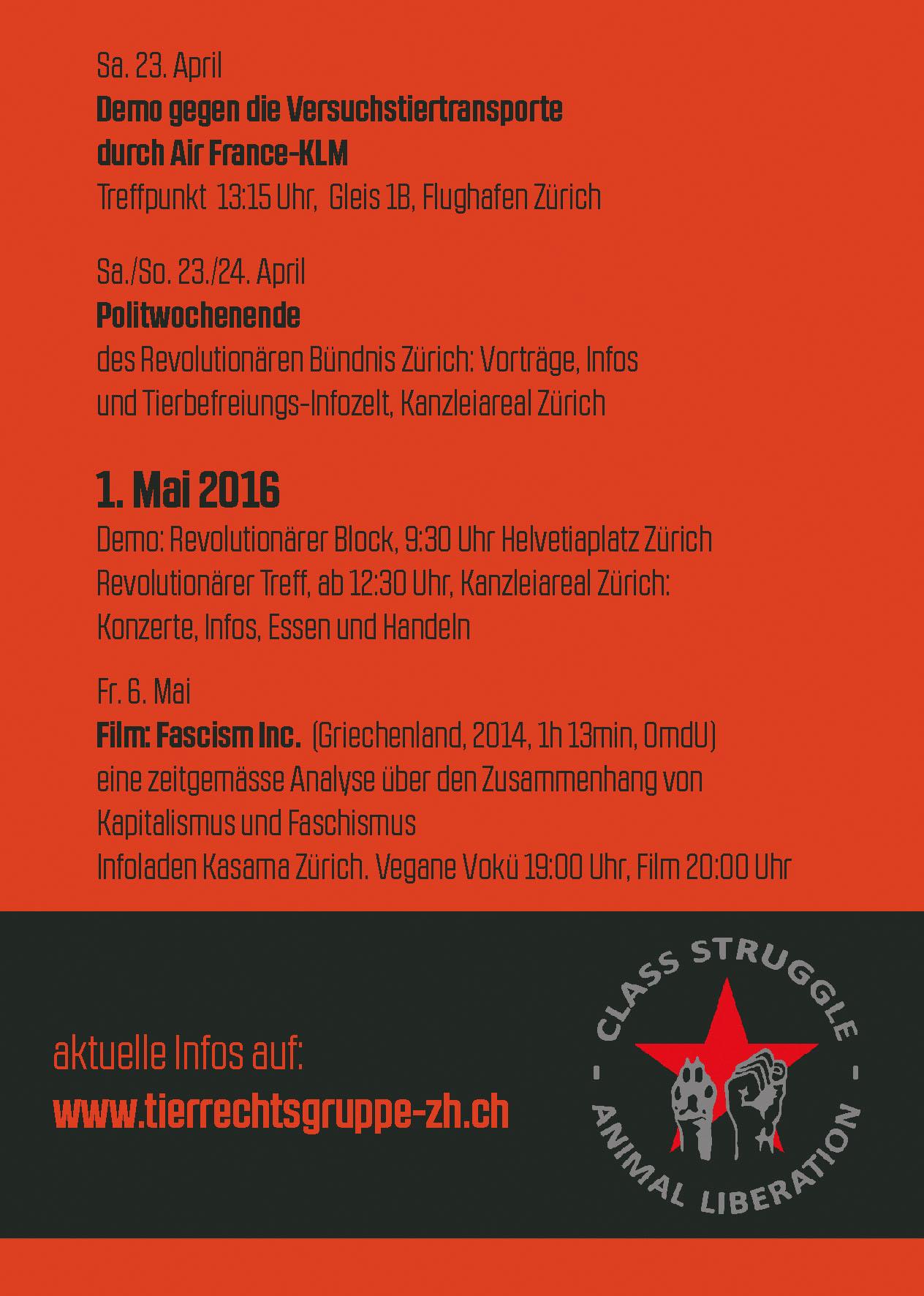 1. Mai Tierbefreiung 2016 Zürich