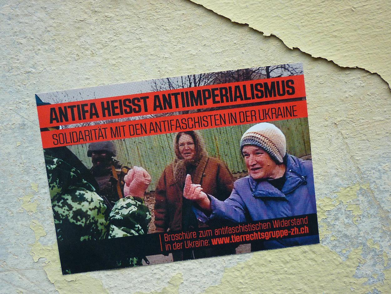 1. Mai Tierrechtsgruppe Zürich 2016 Ukraine Solidarität Odessa Sticker