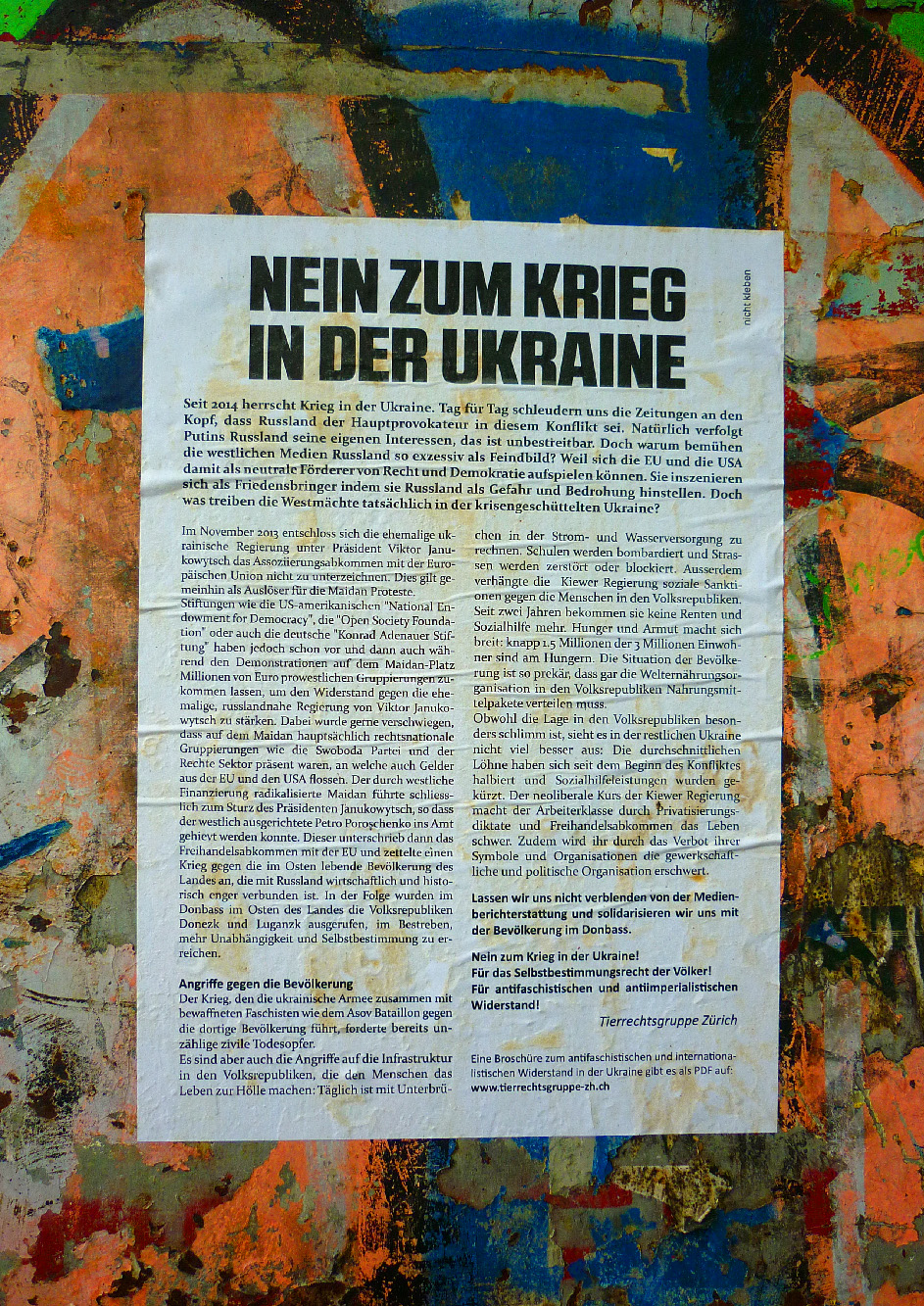 1. Mai Tierrechtsgruppe Zürich 2016 Ukraine Solidarität Odessa Wandzeitung