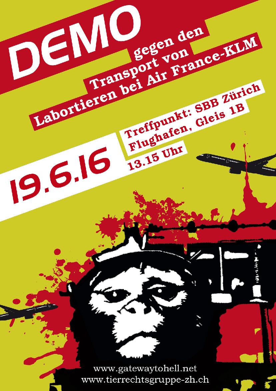 Air France Demo Kundgebung Flughafen Zürich Tierrechtsgruppe Zürich