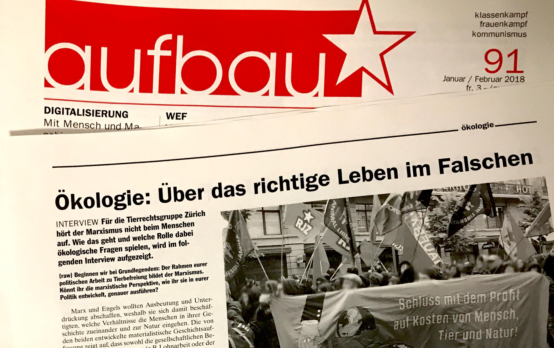 Interview Tierrechtsgruppe Zürich Aufbau Zeitung